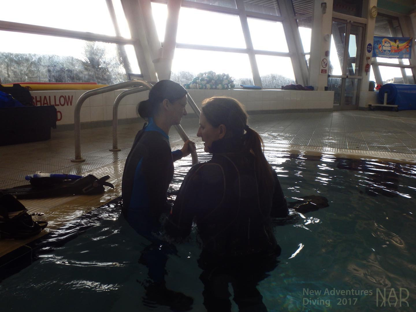 Learning to scuba dive at a pool session in Crosby, Merseyside.